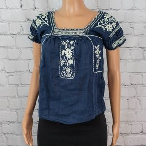 J Crew navy embroidered top